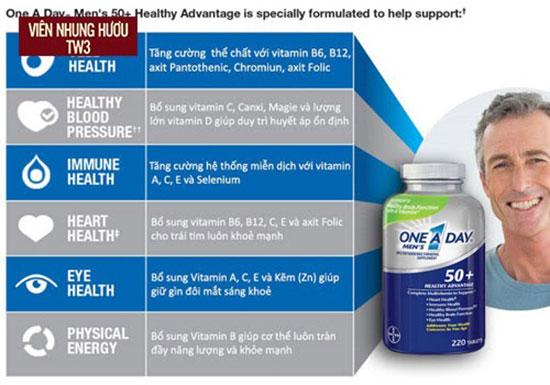 One A Day Men's 50+ Healthy Advantage là thuốc bổ dành riêng cho đàn ông trên 50 tuổi